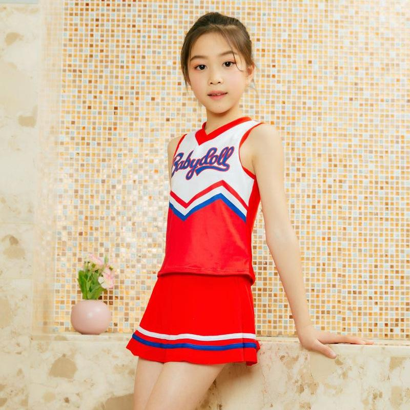 Simple navy style middle and big Children's dress split swimsuit children's skirt swimsuit girls 5-9 years old