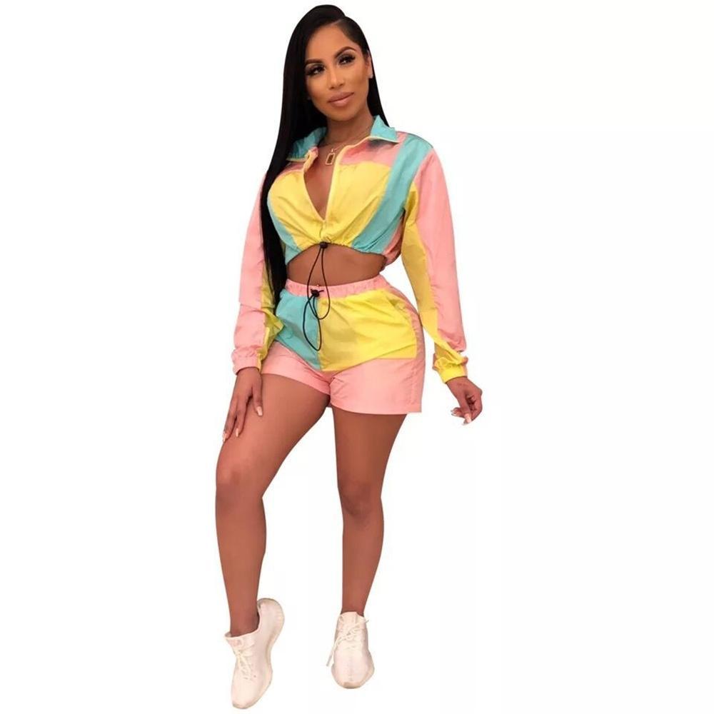 Mehrfarben Block-Patchwork Anzug elegante lange Hülsen-Reißverschluss bis Langarm Trench und Shorts Set Night Club Frauen Outfits
