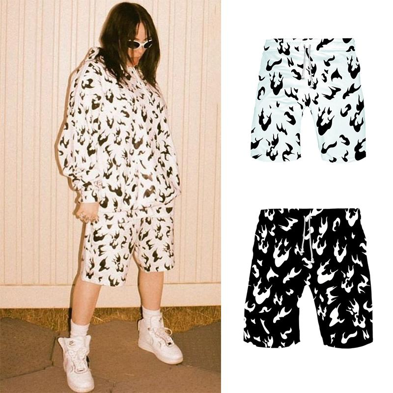 2020 Billie Eilish Shorts Flame Women And Men White Fire Black Hiphop Summer Sports Hawaiian Magic Gym Same Paragraph Y200403 From Shanye04 15 5 Dhgate Com