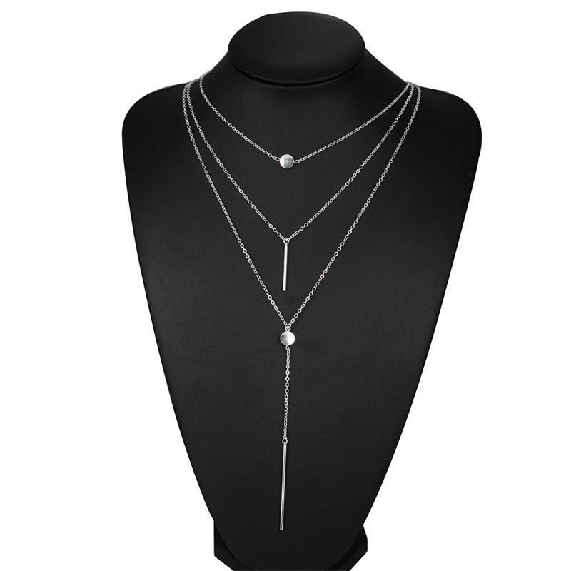 Collane strato Boho Multi per i monili delle donne dell'oro modo della collana dell'annata Livelli multipli Long Bar Collana