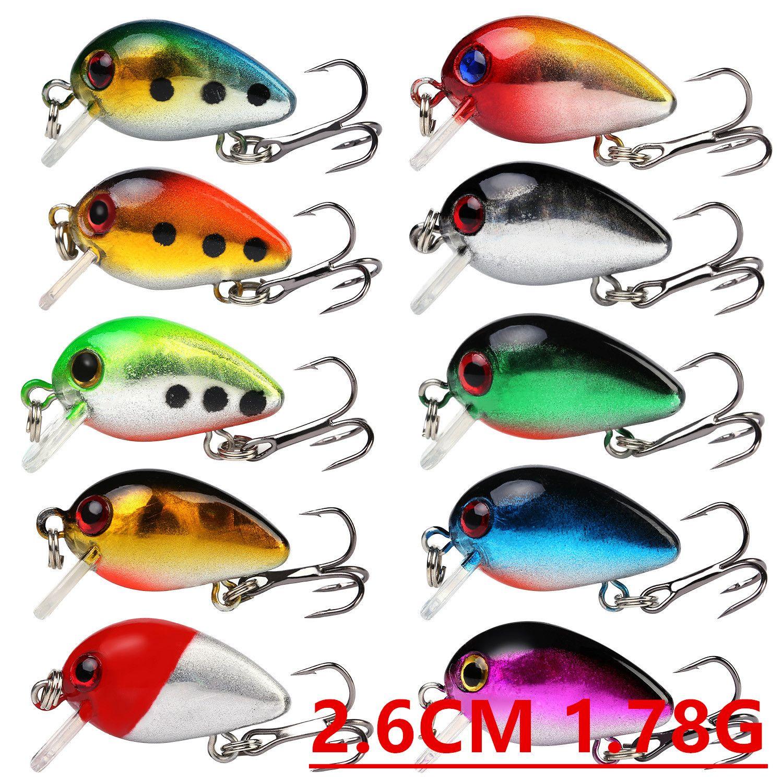 1pcs 10 Color 2.6cm 1.78g Crank Fishing Hooks Fishhooks 10# Hook Hard Baits & Lures Pesca Fishing Tackle Accessories B-009