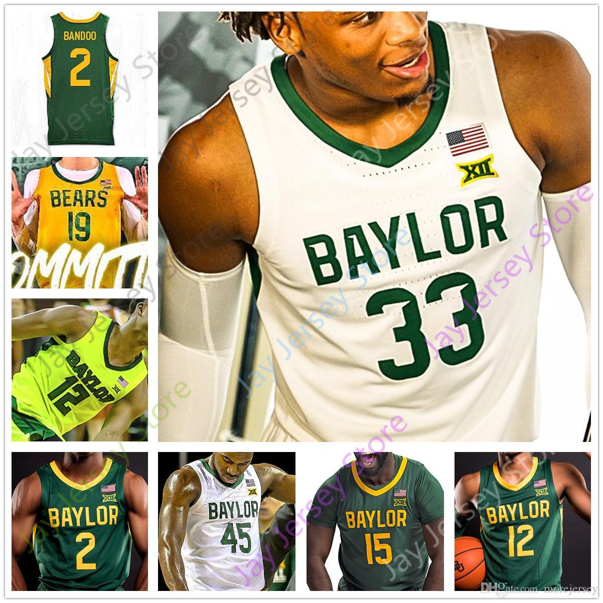 Basketball Jersey personnalisés Baylor College 2 Devonte Bandoo 10 Adam Flagler 33 Freddie Gillespie 24 Matthew Mayer 45 Davion Mitchell