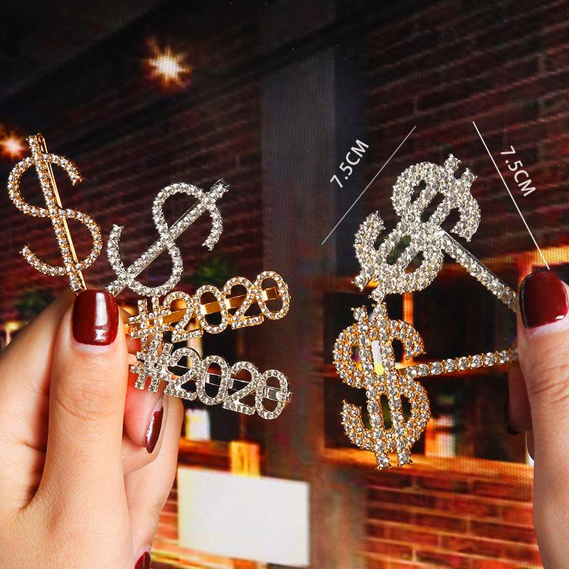 New Crystal Rhinestone Letter Hair Clips Gold Hairpin Diamond 2020 Words Barrettes Fashion $$$$ Bangs Clip Women Hair Accessories Jewelry