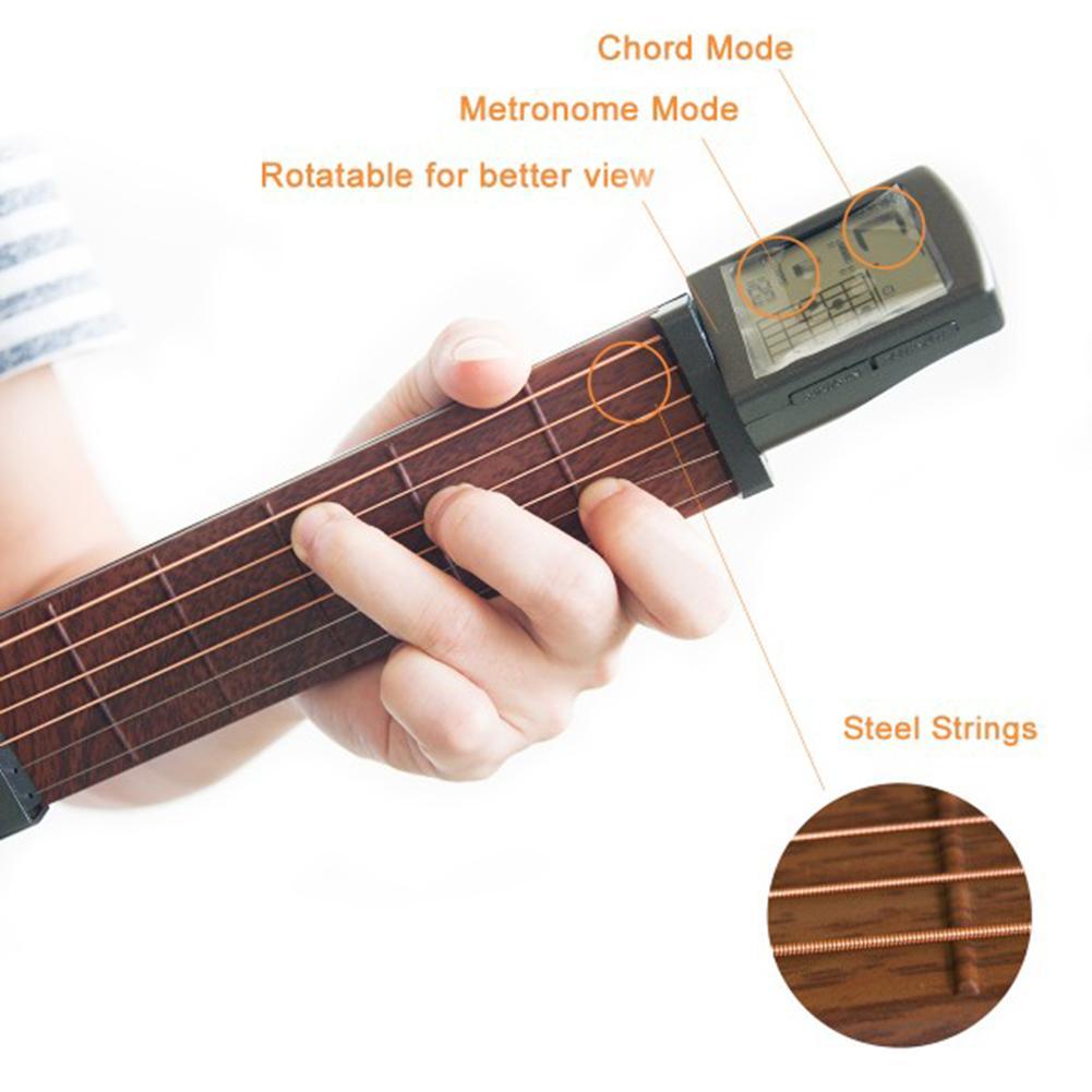 초급 기타 액세서리 ammoon 포켓 어쿠스틱 기타 연습 도구 휴대용 가젯 코드 트레이너 6 문자열 6 무서워 모델