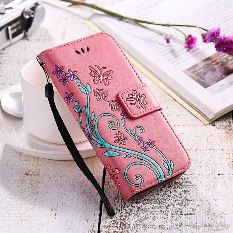 Print Butterfly Fly Flower Leather Flip Book Wallet Cell Phone Case Soft Cover for Apple iphone 5 5s SE 6 6s 7 Plus 7plus