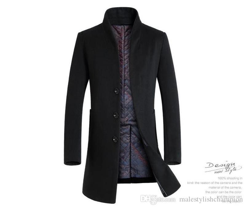 Kış Artı boyutu Yün Erkekler Coat Kalın Uzun Standı Yaka Erkek Karışımları Moda Pamuk Erkek Dış Giyim
