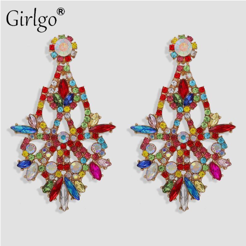 Girgo Iperbole orecchini di goccia per le donne multicolore di cristallo lunga Brincos monili di nozze regali del partito Suor vendita calda 2020 Nuovo