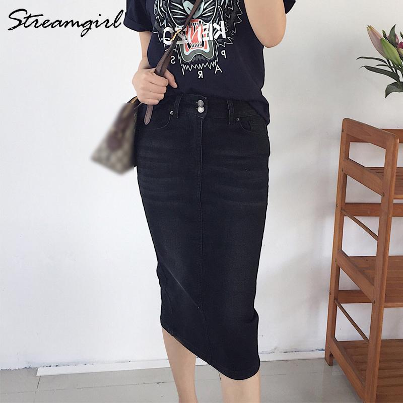 Black Denim Midi юбка лето Женщины 2019 карандаш Юбки женские джинсы Юбка миди высокой талией Юбки Женщины Юп Femme лето