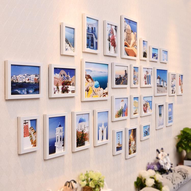 28pcs / set Modern Style Photo Frame Kombinations-Wand-Dekoration Bilderrahmen für TV-Hintergrund-Wand Wohnzimmer Hängerahmen