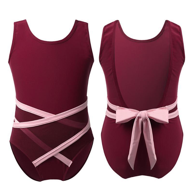 Çocuklar Kolsuz U şeklinde Geri strappy Bel Balesi Giyim Jimnastik mayoları Kız Çocuk Sahne Performansı Dans Kostüm