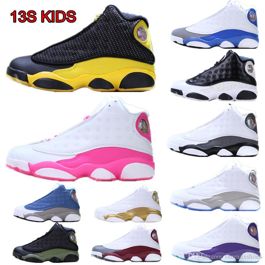2019 Kinder Basketballschuhe 13s Luxus Designer Schuhe Gs Gg Kinder Jungen Mädchen weiß rosa Jugend Bred Chicago Infant Black Geburtstagsgeschenk 28-35