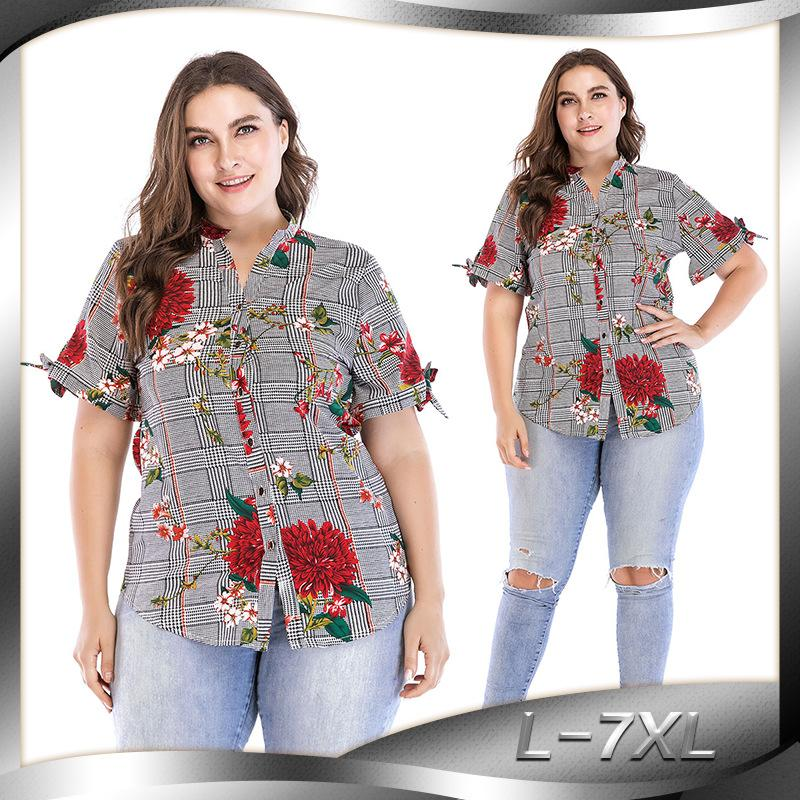 Цветочные печати Женщины Блуза L-7XL Summer Top Plus Размер с коротким рукавом рубашки Harajuku Printed Blusa Feminina женщин Топы и блузки J1905109