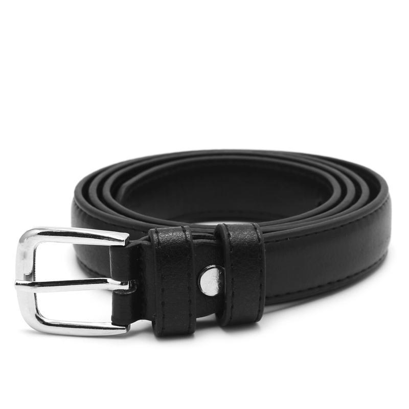 Мода Женский Antique черный пояс пряжки металла джинсы Женщина Кожезаменитель