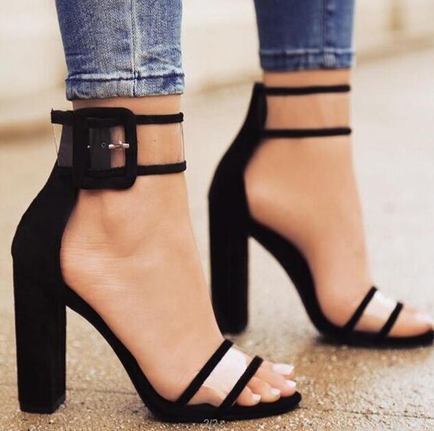 Elegante Cool Fashion Donne Pumps estate traspirante Snake Marca Peep Toe femminile pompe degli alti talloni Buckle Strap Flock Pompe