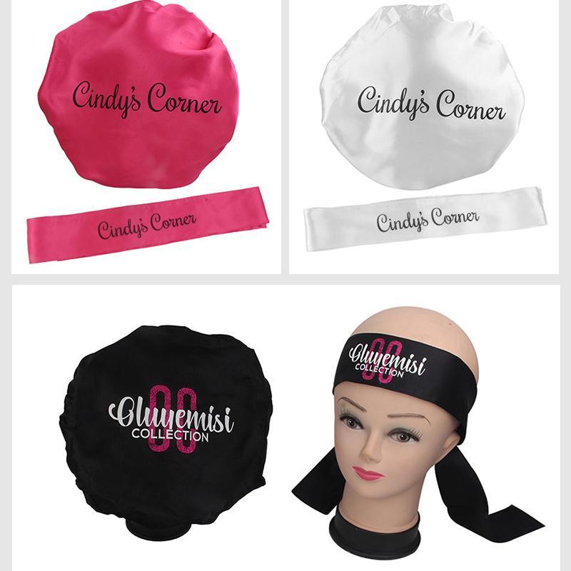 Logotipo personalizado Marca de la marca Cuidado del cabello Nightcap Satin / Seda Frontal Head Wrap Edge Deedband Scaf / Virgin Satin Bolsas de seda