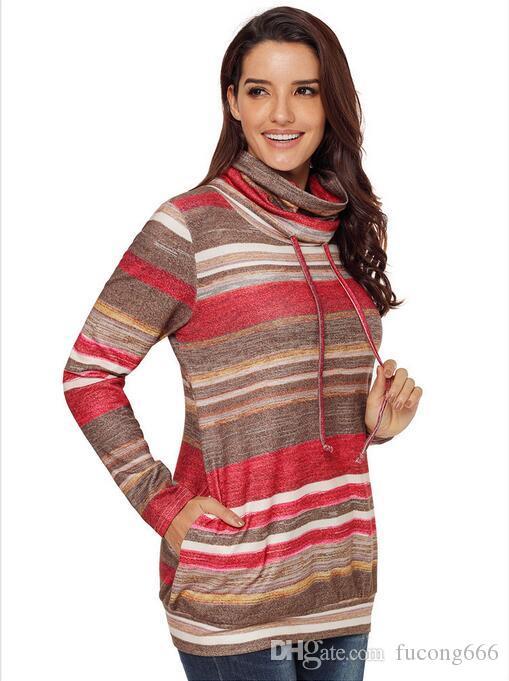 2Neue Herbst- und Winterpullover mehrfarbig gestreifte Tasche mit langen Ärmeln Damen Langes Rollkragenoberteil