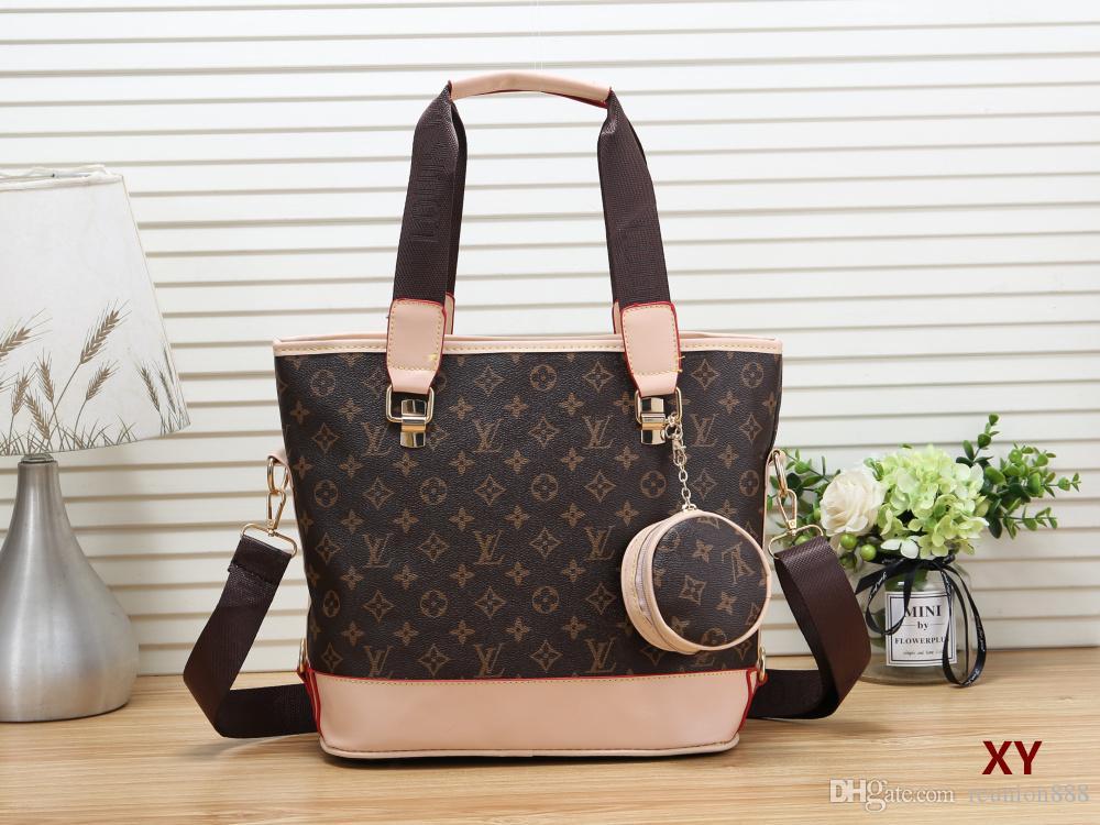 Pronto Stock 2020 moda feminina de alta qualidade bolsa Fazendo Materiais pu sacola de compras de couro ombro saco conjunto de 2 peças
