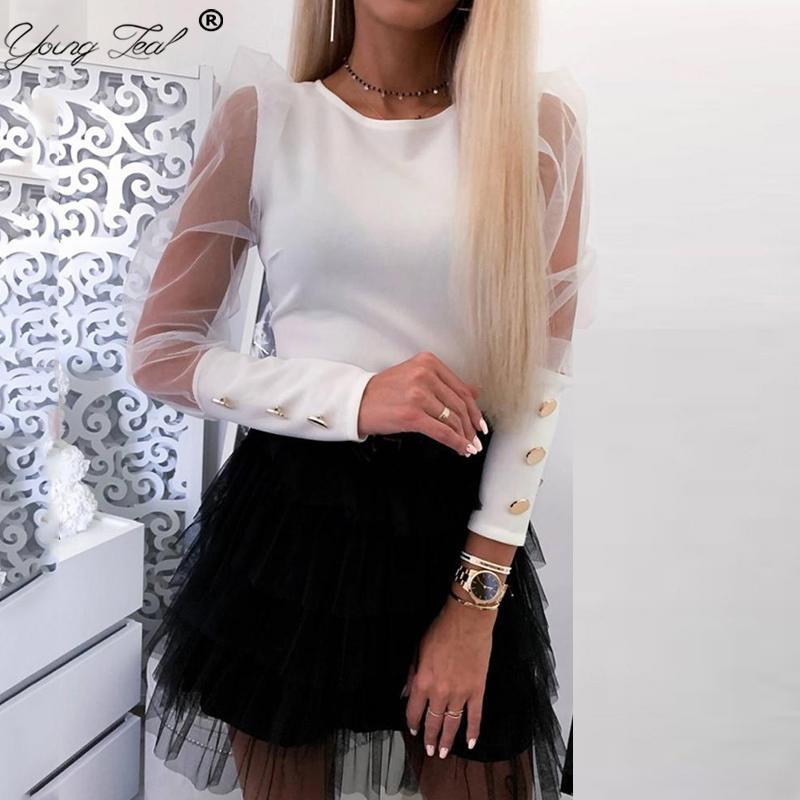 2020 nouveaux T-shirt noir élégant Boutons de manchette femmes maille à manches bouffantes long col rond Solid Slim Tee Fashion Party Casual club Tops T200422
