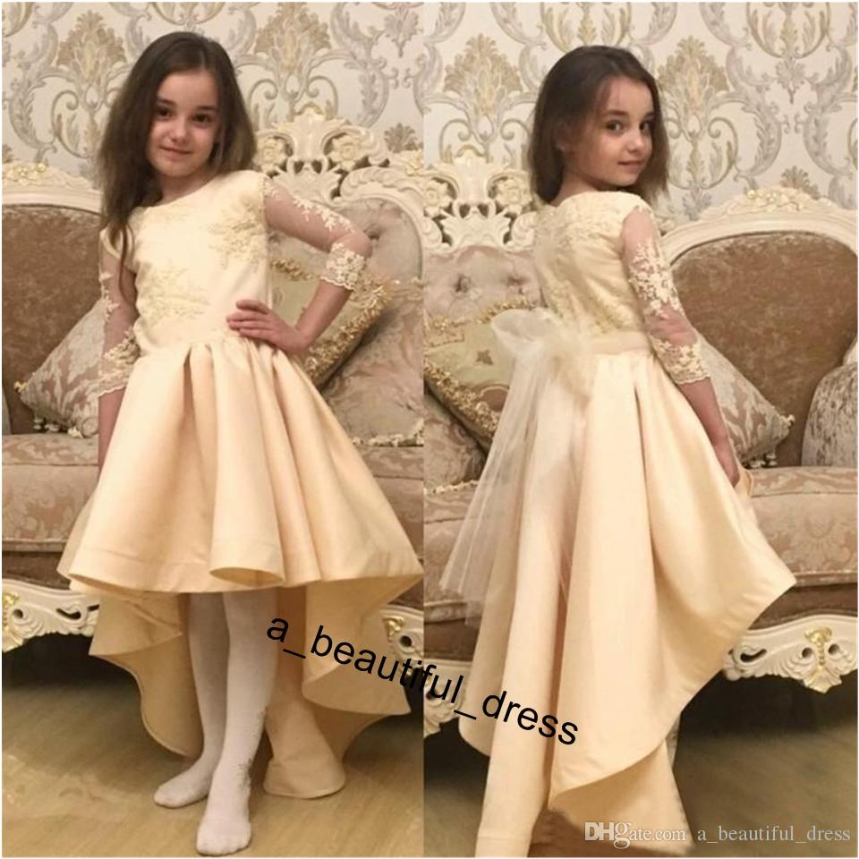 High Low Flower Girl Dresses For Wedding Gowns 3/4 Long Sleeve Lace Applique Scoop Neck Flowergirl Dress For Girls Custom Made FG1300