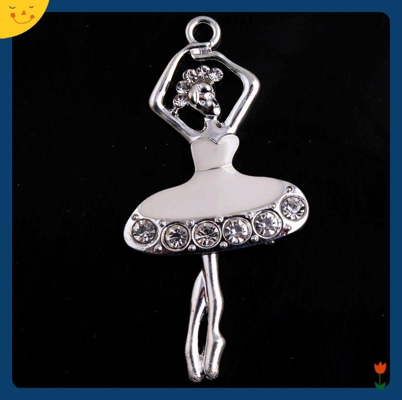 Doluo Fashion Jewelry 30*55mm 10pcs Zice Alloy Dancer Rhinestone Pendants for Chunky Beads Necklace Making Bracelet Charm