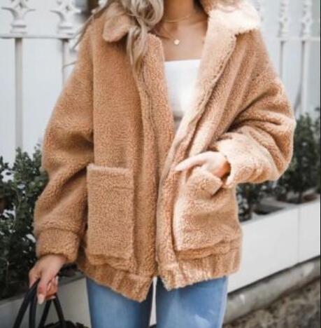 겨울 따뜻한 여성 숙 녀 양 털 탑 포켓 자 켓 우편 크기 초과 야외 코트 Outwear