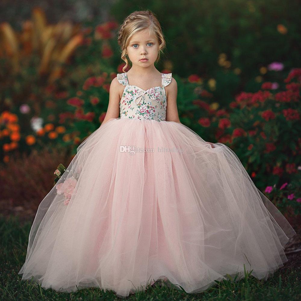 Verão Bebés Meninas Princesa Flor Rosa Tutu Vestidos Crianças Suspender malha vestido crianças Dresses Prom vestido floral doce M893