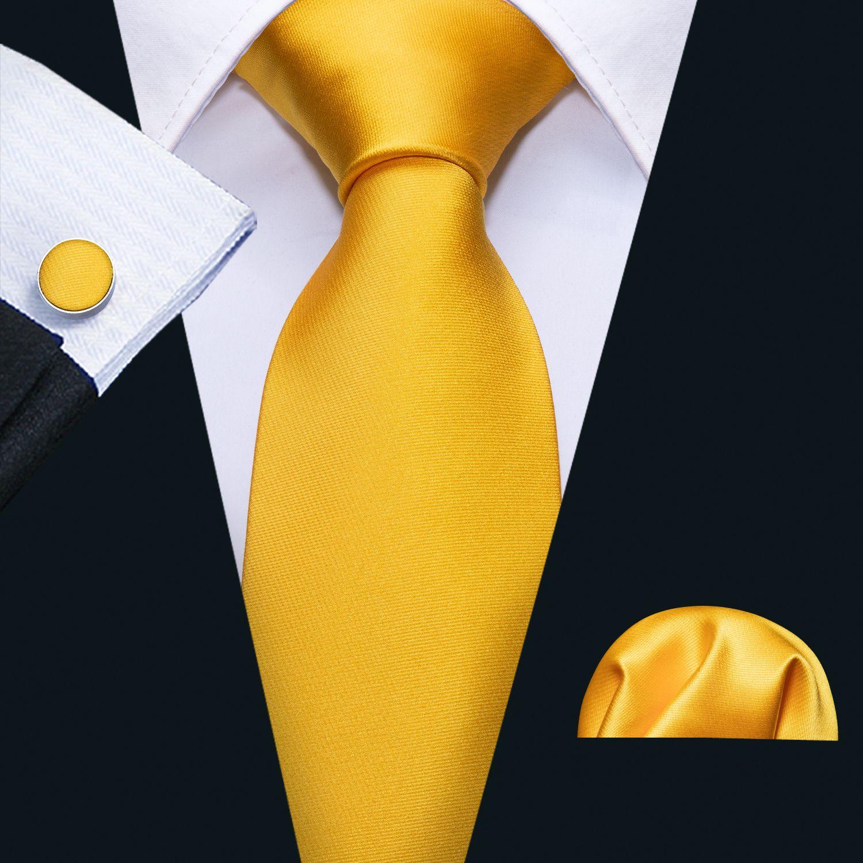 Hi Tie Fashionable Tie Sets Hanky Cufflinks Gold Solid Jacquard Woven Silk Neckties Formal Causal Wedding Party N-5113