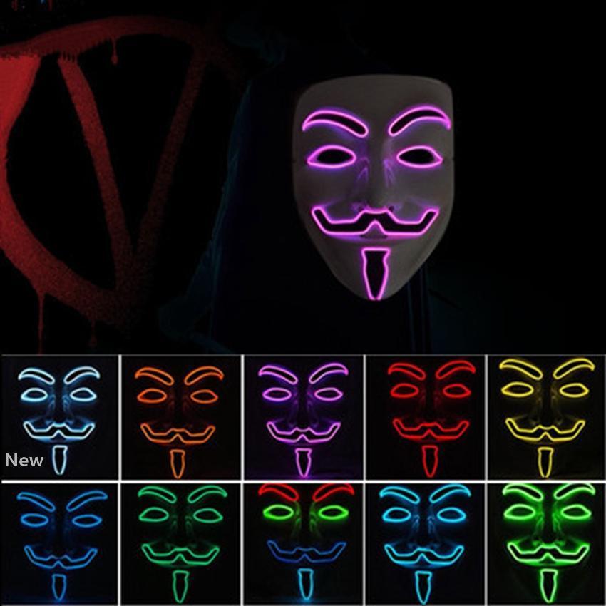 Cadılar Bayramı maskesi parti maskeli dans dekore Korkunç maskeler ZZA1092 maske Glow LED Vendetta maskeler 10 renk V