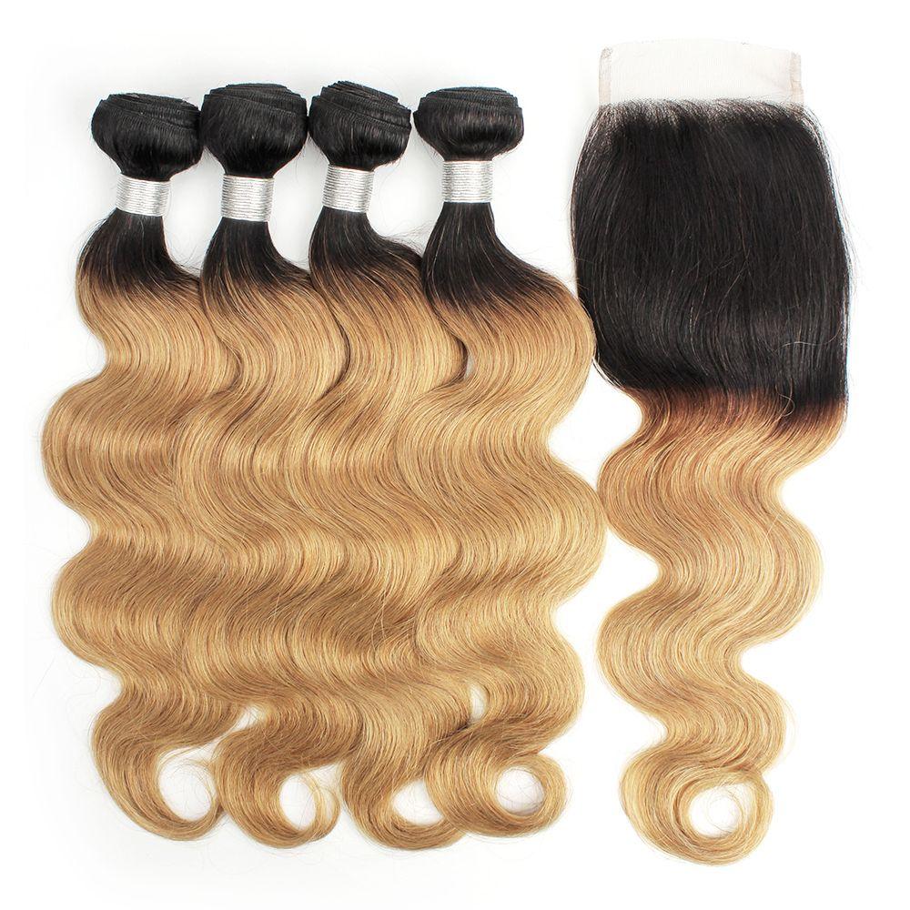 Kisshair t1b27 nard raiz mel loira extensões corporal onda ombre cabelo humano weave 4 pacotes com fecho de renda cor virgem brasileira