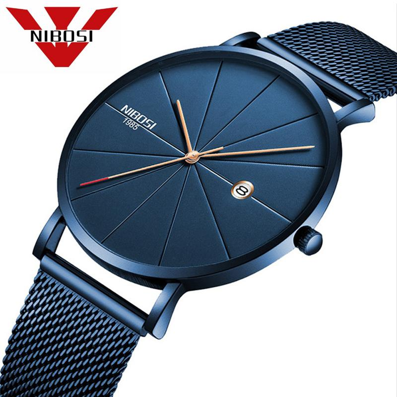 NIBOSI Men Blue Stainless Steel Ultra Thin Watches Men Classic Quartz Watches Luxury Date Men's Wrist Watch Relogio Masculino LY191226
