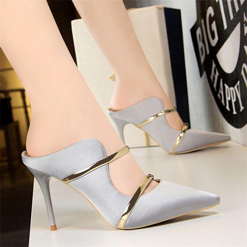 Hot Sale-oman stiletto black heels italian shoes women designers mules shoes women heels sexy high heels zapatos de mujer ayakkabi