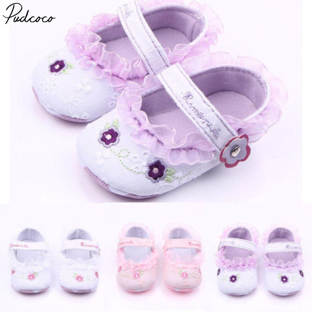 Pudcoco antiscivolo Infant neonate scarpe bambino Flower bottini soli pattini 3-12months