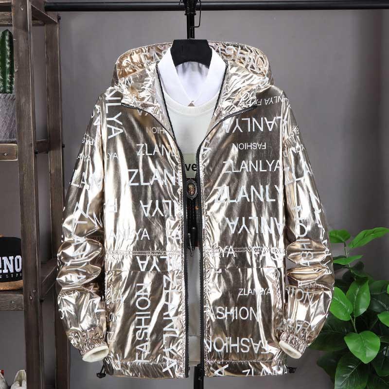 Jacken der Männer 2020 Art und Weise neuer Mens europäische und amerikanische Art-mit Kapuze Street beiläufige Buchstabe-Druck-Männer Jacke 3 Farben M-5XL