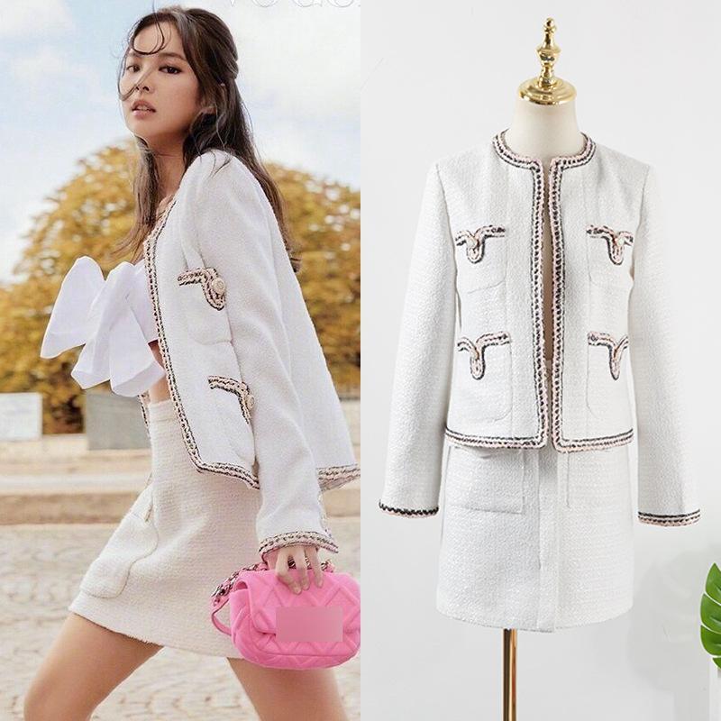 kpop BLACKPINK JENNIE Sonbahar yeni moda gevşek zarif yünlü ceket ceket + seksi düğmesi Yüksek bel mini etek kadın iki parçalı set