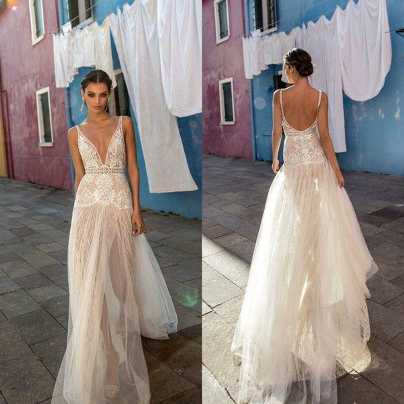 2020 Sexy Country Gali Wedding Dresses V-Neck Tulle Lace Side Slit Bridal Gowns Beach Boho vestido de novia Sheer Backless Summer bc3351