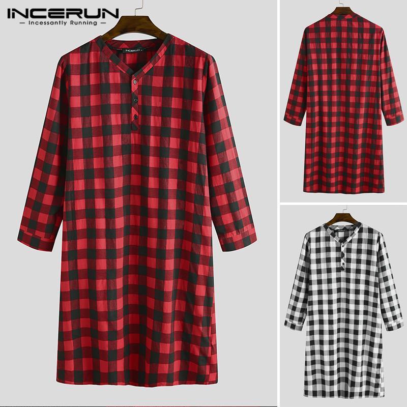 INCERUN Uzun Kollu Ekose Erkek Uyku Elbiseler Yumuşak Gevşek V Yaka Düğme Uzun Pijama Homewear Boş Erkekler Gecelik Bornoz S-5XL