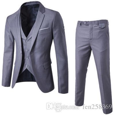 2017 New Arrival Men Business Suit Slim Fit Classic Male Suits Good Quality Wedding Suits For Men 3 Pieces (Jacket+Pant+Vest)
