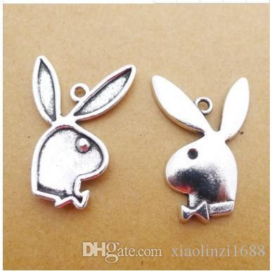 LY165 20 * 53mm alliage tête de lapin antique argent accessoires de bijoux pendentif bricolage 50 / 5.7g