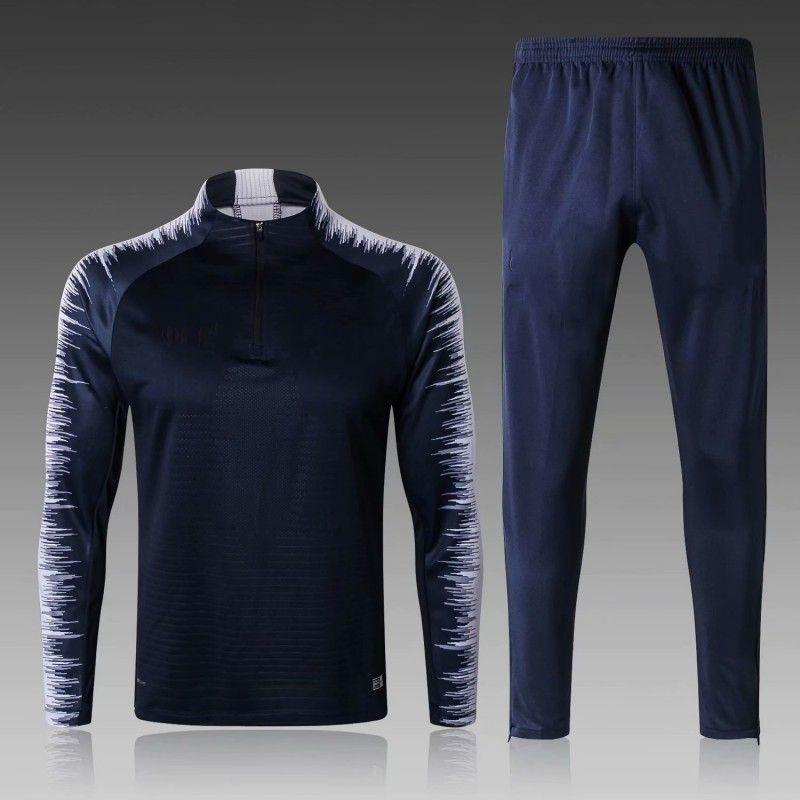18 19 Survetement de foot 프랑스 축구 tracksuit 2 스타 파란 축구 조깅 복장 긴 소매 MBAPPE POGBA 키즈 남자 훈련 suit kit