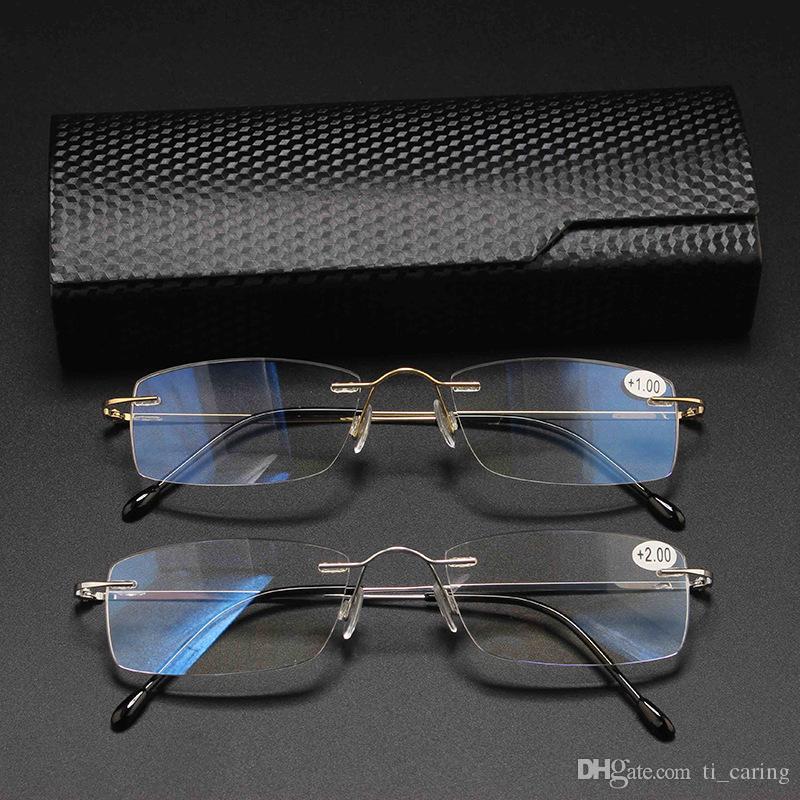 2019 Nova titânio puro óculos de leitura Homens Moda Anti Blue Ray Óculos Anti fadiga óculos para homens mulheres + 100 / + 400