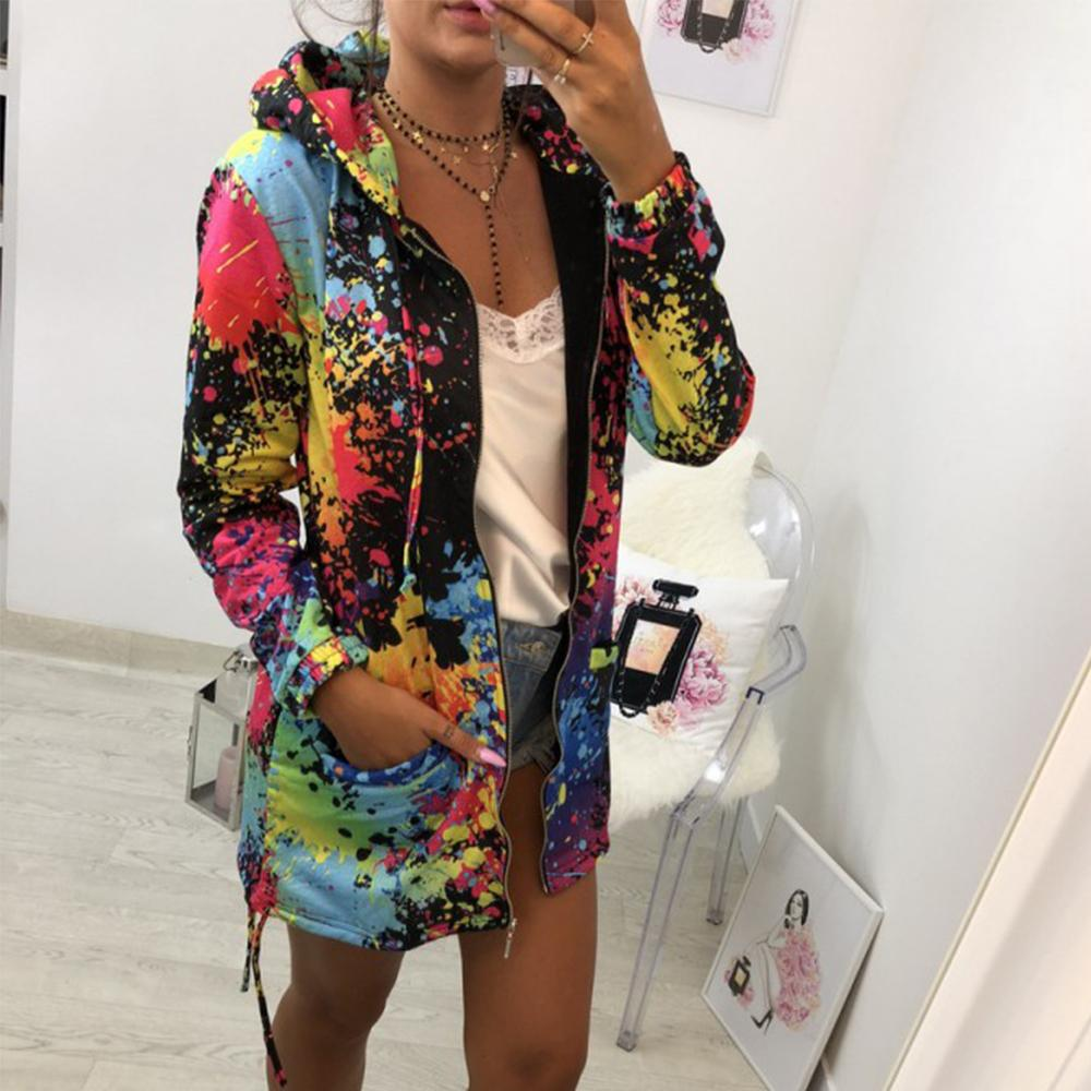 Harajuku Oberbekleidung Mäntel Jacken Fashion Tie Dyeing Print Outwear Sweatshirt Kapuzenmantel Mäntel und Jacken Frauen 2018 Bomber