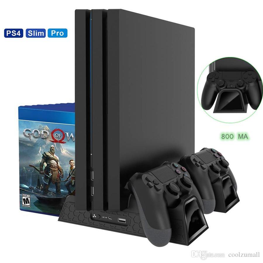الشحن حامل PS4 سليم عمودي مع مروحة تبريد متعددة الوظائف العمودي التبريد موقف تبريد شاحن لسوني بلاي ستيشن 4