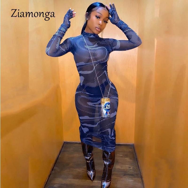 Ziamonga Женщины Видеть Сквозь Сетки Сексуальный Длинное Платье С Длинным Рукавом Печати Bodycon Макси Платье Женщины Дамы Клуб Партии Vestdios