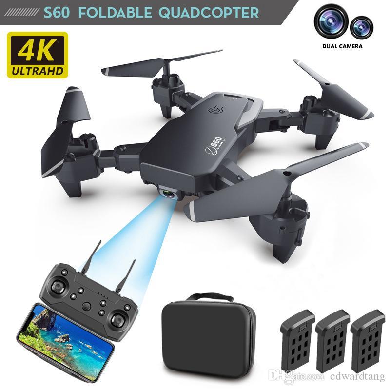 S60 4K HD WIFI FPV قابلة للطي بدون طيار لعبة التقاط صورة عن طريق الإيماءات ، مسار الرحلة ، الجمال مرشح ، الأرتفاع, السيارات-follw Quadcopter, 3-1