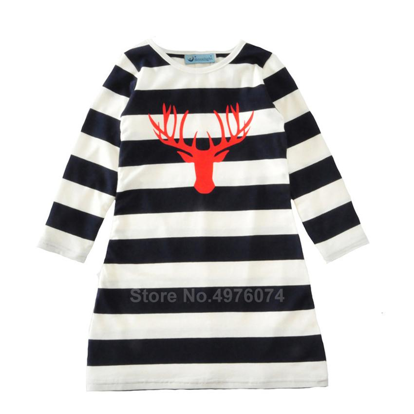 Mommy and Me Dress Mother Daughter Christmas Xmas Deer Elk Print Striped Long Shirt Dress Family Matching Clothing Autumn FA132