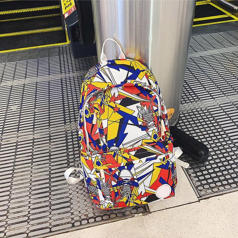 Designer Sac à dos de luxe Designer Sac à dos Contraste Style du graffiti multicolore Nouveaux produits d'hiver Sac d'école impression haute capacité Mode 4