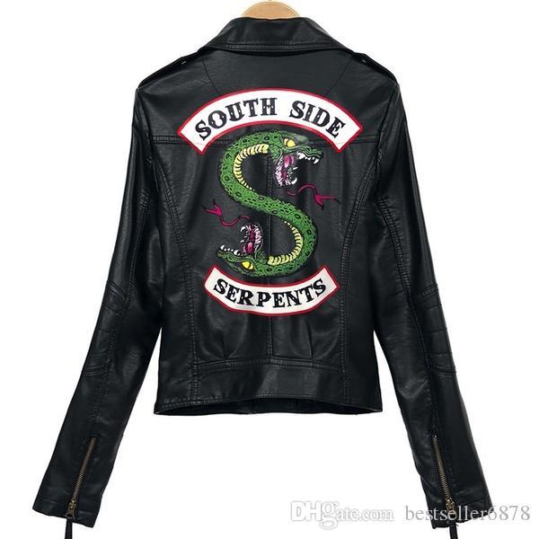 2019 Riverdale PU Baskılı Logo Southside Riverdale Yılanlar Ceketler Kadın Riverdale Yılanlar Streetwear Deri Ceket