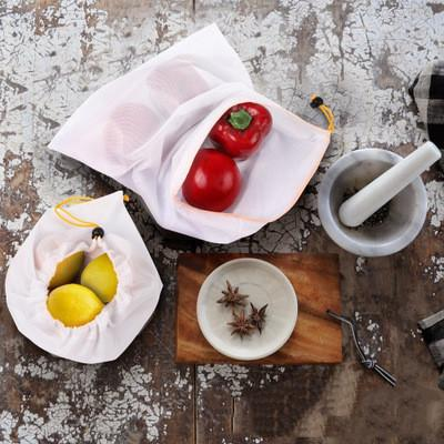 10pcs/lot Premium Reusable Rope Mesh Produce Bags Kitchen Fruit Vegetable Toys Storage Bags Pouch Drawstring Mesh Shopping Bag EEA1371-2