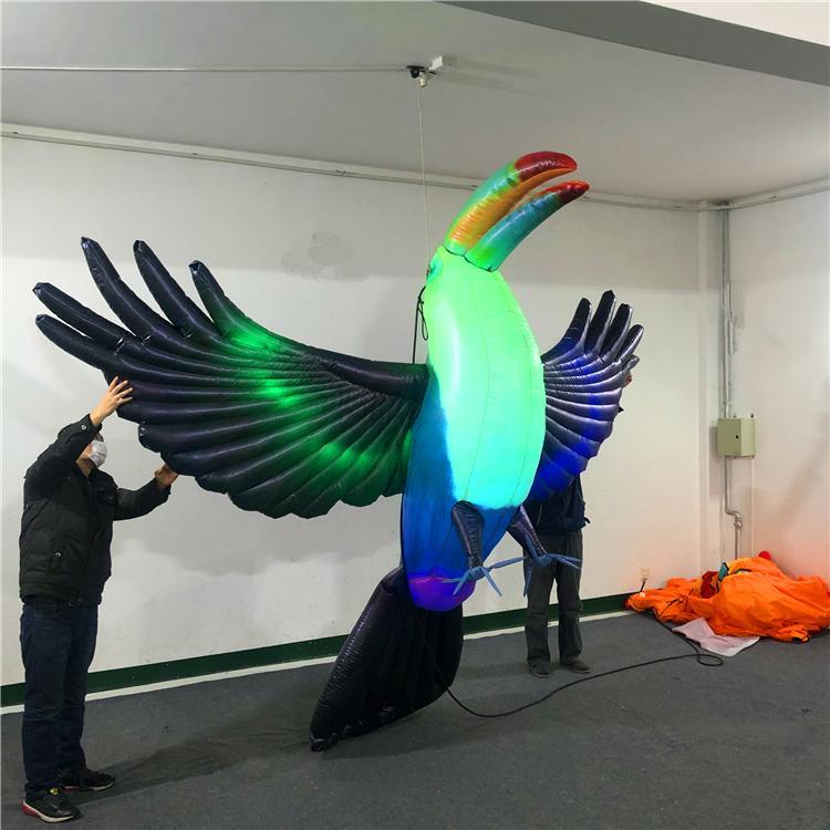 Decorazioni 3m alta qualità gonfiabile Tucan gonfiabile pappagallo gonfiabile Uccello con LED striscia per la festa esterna