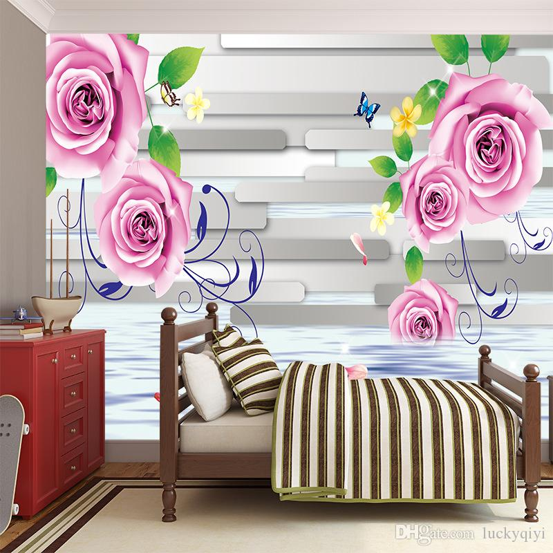 5d stereo pink roses TV background wallpaper romantic warm living room bedroom Sofa European style film wall painting wall